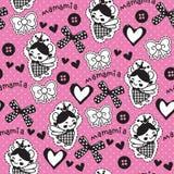Seamless cute angel princess pattern vector illustration Stock Photos