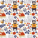 Seamless cute animal autumn pattern made with bear. Love, bee, flower, plant, leaf, berry, heart, friend, floral nature berry acorn mushroom hello wild Royalty Free Stock Photos