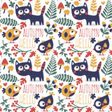 Seamless cute animal autumn pattern made with cat, bird, flower, plant, leaf, berry, heart, friend, floral, nature Stock Photo