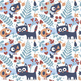 Seamless cute animal autumn pattern made with cat, bird, flower, plant, leaf, berry, heart, friend, floral nature  acorn Stock Image