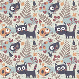 Seamless cute animal autumn pattern made with cat, bird, flower, plant, leaf, berry, heart, friend, floral nature  acorn Royalty Free Stock Images