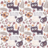 Seamless cute animal autumn pattern made with cat. Bird, flower, plant, leaf, berry, heart, friend, floral nature berry acorn mushroom hello kitten Royalty Free Stock Image