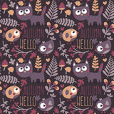 Seamless cute animal autumn pattern made with cat. Bird, flower, plant, leaf, berry, heart, friend, floral nature berry acorn mushroom hello kitten Stock Images