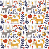 Seamless cute animal autumn pattern made with fox. Deer, moose, bee, flower, plant, leaf, berry, heart, friend floral nature berry acorn mushroom hello wild Royalty Free Stock Images
