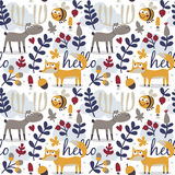 Seamless cute animal autumn pattern made with fox Royalty Free Stock Photos