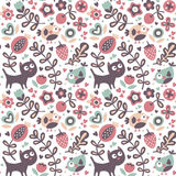 Seamless cute animal pattern made with cat, bird, flower, plant, leaf, berry, heart, friend, floral, nature Royalty Free Stock Photos