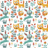 Seamless cute animal pattern made with cat, hare, rabbit, bee, flower, plant, leaf, berry, heart, friend, floral, kitten royalty free illustration