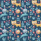 Seamless cute animal pattern made with cat, hare, rabbit, bee, flower, plant, leaf, berry, heart, friend, floral, nature Stock Image