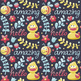 Seamless cute animal pattern made with ducks, bee Royalty Free Stock Photography