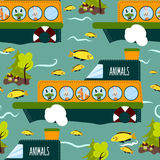 Seamless cute animal wild forest on the ship texture design. Cartoon style. Vector Stock Images