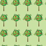 Seamless cute apple tree. Seamless pattern cute apple tree in vector Stock Image
