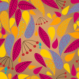 Seamless cute autumn leaves illustration Royalty Free Stock Photo