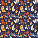 Seamless cute autumn pattern made with cat, bird, flower, plant, leaf, berry, heart, friend, floral, nature, acorn Royalty Free Stock Images