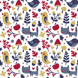 Seamless cute autumn pattern made with cat, bird, flower, plant, leaf, berry, heart, friend, floral, nature, acorn Stock Images