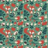 Seamless cute autumn pattern made with fox, bird, flower, plant, leaf, berry, heart, friend, floral, acorn, mushroom Royalty Free Stock Photos