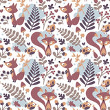 Seamless cute autumn pattern made with fox, bird, flower, plant, leaf, berry, heart, friend floral nature acorn Rowan. Mushroom wild cloud Stock Images