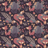Seamless cute autumn pattern made with fox, bird, flower, plant, leaf, berry, heart, friend floral nature acorn Rowan Royalty Free Stock Images