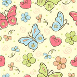 Seamless cute background with butterfly Stock Photos