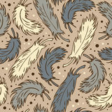 Seamless cute background with plumes. Decorative romantic pattern with feathers can be used for wallpapers, craft papers, prints, Royalty Free Stock Photography