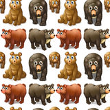 Seamless cute bears and cubs Stock Photography