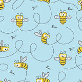 Seamless cute bees pattern. Vector background vector illustration