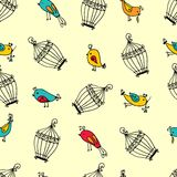 Seamless cute birds with cages pattern. Stock Photo