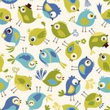 Seamless cute birds pattern Stock Photography