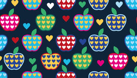 Seamless cute bright colorful retro apple pattern Royalty Free Stock Images