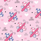 Seamless cute butterfly love pattern vector illustration Royalty Free Stock Photography