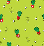 Seamless with cute cactus in love Royalty Free Stock Image