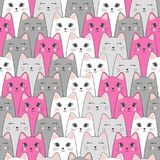 Seamless cute cats pattern. Vector background. Stock Images