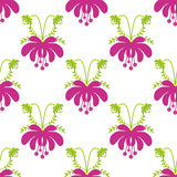Seamless cute cartoon flowers pattern background Royalty Free Stock Images