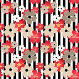 Seamless cute cartoon flowers pattern on striped background Royalty Free Stock Photo