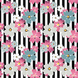 Seamless cute cartoon flowers pattern on striped background Stock Photo