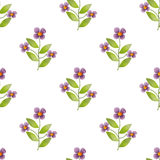 Seamless cute cartoon kids flowers pattern background Royalty Free Stock Image