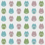 Seamless cute cartoon owls birds pattern background Royalty Free Stock Image