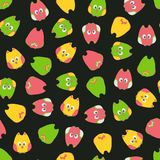 Seamless cute cartoon owls birds pattern on a black background. Royalty Free Stock Photos
