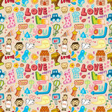 Seamless cute cartoon pattern Royalty Free Stock Photography