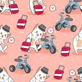 Seamless cute cat is traveling pattern. stock illustration