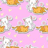 Seamless 2 cute cats is taking care its friend pattern. vector illustration