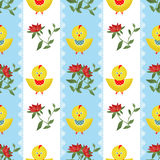 Seamless cute chicken kids illustration background pattern Stock Photo