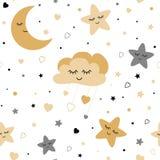 Seamless cute children pattern with baby golden stars cloud moon Kids texture background Vector illustration. Seamless cute children pattern Cute baby stars and vector illustration