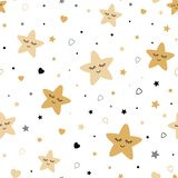 Seamless cute children pattern with gold smiling stars Kids texture fabric background Vector illustration. Seamless cute children pattern Cute baby gold stars royalty free illustration