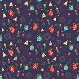 Seamless cute color gift wrapper pattern on purple background. Seamless cute color gift wrapper pattern  on purple background Stock Photos