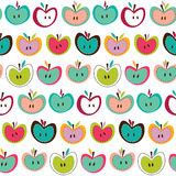 Cute seamless apple pattern. Seamless cute colorful retro apple pattern Royalty Free Stock Photos
