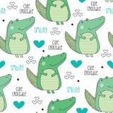 Seamless cute crocodile pattern vector illustration. Cute crocodile pattern vector illustration Royalty Free Illustration
