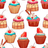 Seamless cute cupcakes Royalty Free Stock Image