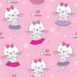 Seamless cute dance cat pattern vector illustration Royalty Free Stock Photography