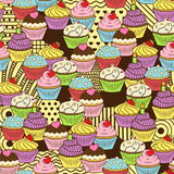 Seamless cute delicious cupcake doodle pattern. It includes yummy deserts with icing, cherry, strawberry, cream Royalty Free Stock Image