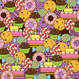 Seamless cute delicious sweets doodle pattern. Royalty Free Stock Image